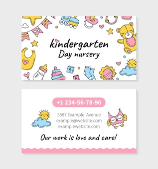 Tarjeta de visita de jardín de infantes y guardería con juguetes