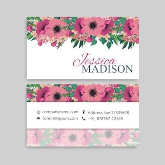 Tarjeta de visita linda del estampado de flores plantilla de diseño de tarjeta