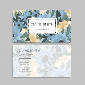 Tarjeta de visita linda del estampado de flores plantilla de diseño