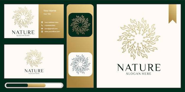 Tarjeta de visita y logotipo natural de ornamento de hoja de naturaleza simple