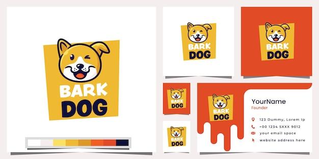 Tarjeta de visita del logotipo del perro de la corteza