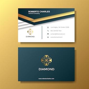 Tarjeta de visita de lujo creativa con plantilla de fondo de oro
