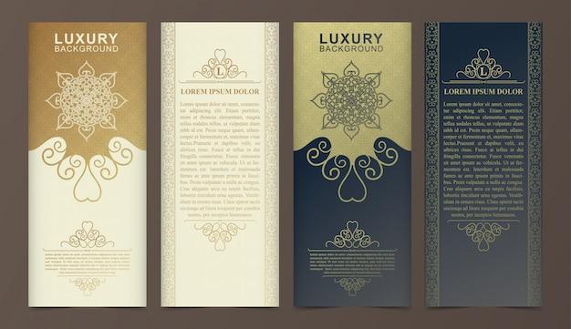 Tarjeta de visita de lujo y plantilla de logotipo de adorno vintage. retro elegante florece diseño de marco ornamental y fondo de patrón.