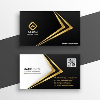 Tarjeta de visita de lujo premium negro y oro