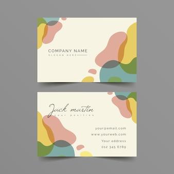 Tarjeta de visita de manchas de colores pastel