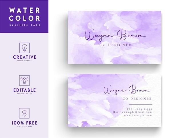 Tarjeta de visita - maqueta de tarjeta de visita violeta abstracta acuarela