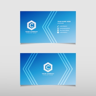 Tarjeta de visita moderna azul