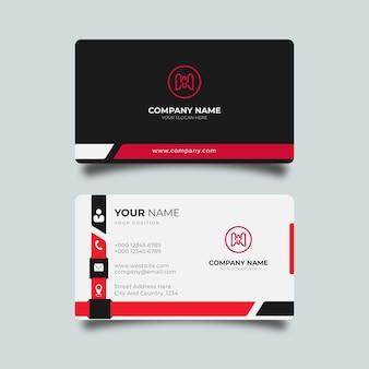 Tarjeta de visita moderna con detalles rojos plantilla profesional de diseño elegante
