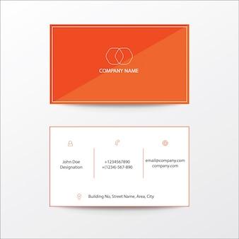 Tarjeta de visita moderna del diseño plano limpio anaranjado tarjeta de visita comercial de las sombras