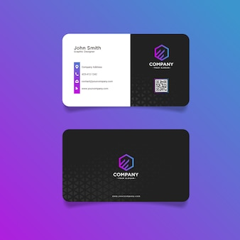 Tarjeta de visita moderna negra púrpura