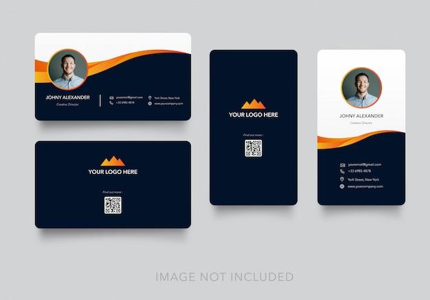 Tarjeta de visita moderna simple con versión vertical y horizontal