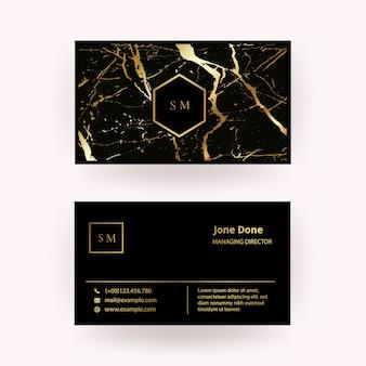 Tarjeta de visita moderna con textura de mármol de oro negro