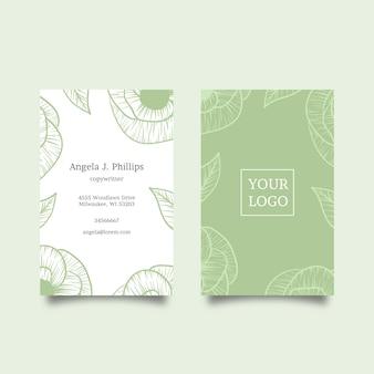 Tarjeta de visita con motivos naturales de hojas y flores