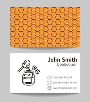 Tarjeta de visita natural del fabricante de la miel