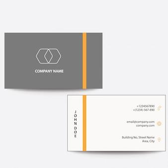Tarjeta de visita de negocios de color naranja gris diseño plano moderno y limpio