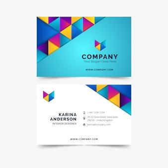 Tarjeta de visita de negocios colorida plantilla abstracta