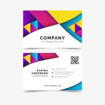 Tarjeta de visita de negocios plantilla colorido abstracto