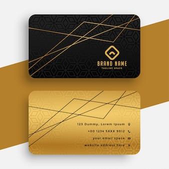 Tarjeta de visita negra y dorada con líneas geométricas