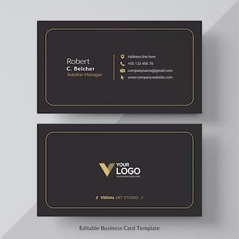 Tarjeta de visita negra y oro vector gratis
