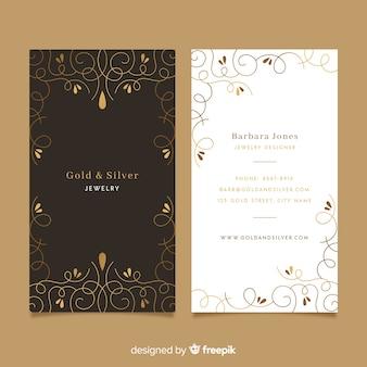 Tarjeta de visita ornamental dorada de plantilla