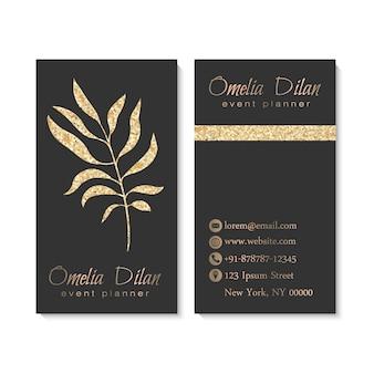 Tarjeta de visita de oro de lujo con hojas.