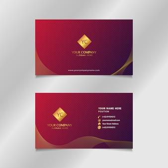 Tarjeta de visita de oro rojo de lujo