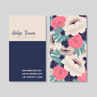 Tarjeta de visita oscura con flores hermosas