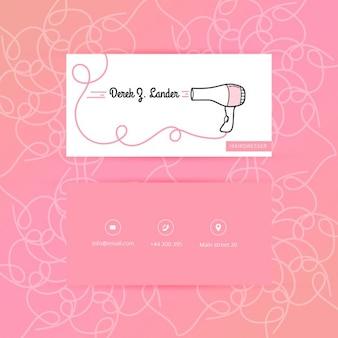 Tarjeta de visita del peluquería de moda de color rosa