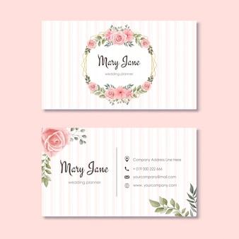 Tarjeta de visita del planificador de la boda con las flores de la acuarela florales