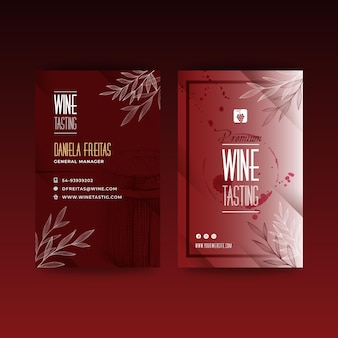 Tarjeta de visita de plantilla de anuncio de cata de vinos