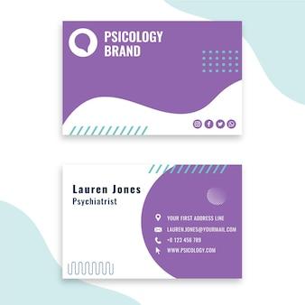 Tarjeta de visita de plantilla de consultoría de psicología