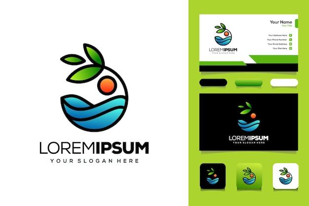 Tarjeta de visita de plantilla de diseño de logotipo de playa y mar