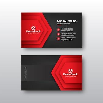 Tarjeta de visita plantilla de diseño negro y rojo