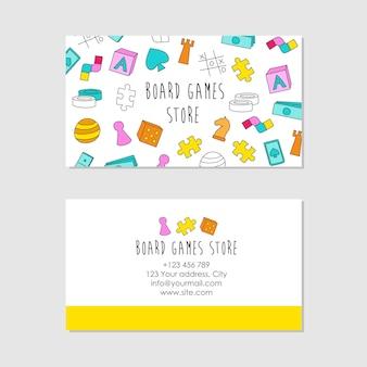Tarjeta de visita con plantilla de diseño de tarjeta de visita de elementos de juego de mesa
