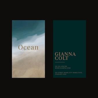 Tarjeta de visita plantilla editable vector océano con fondo negro