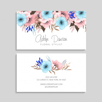 Tarjeta de visita con plantilla de flores hermosas