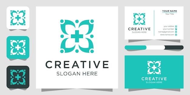Tarjeta de visita de plantilla de icono de símbolo de diseño de logotipo médico de salud
