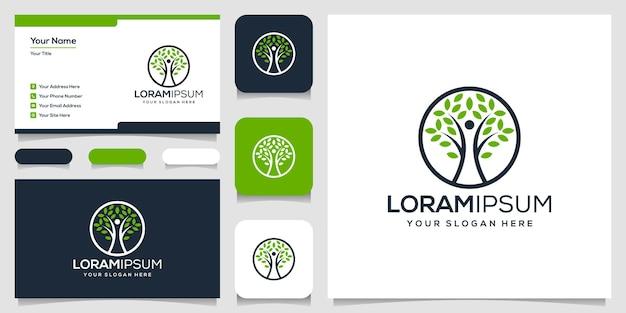 Tarjeta de visita de plantilla de logotipo de árbol de gente moderna