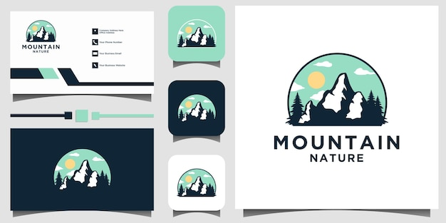 Tarjeta de visita de plantilla de vector de diseño de emblema de logotipo de montaña