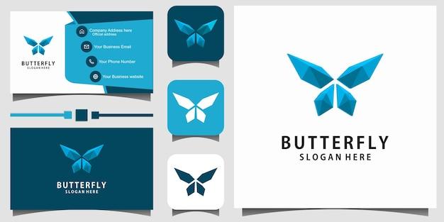 Tarjeta de visita de la plantilla del vector del diseño del logotipo 3d de la mariposa de la belleza