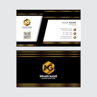 Tarjeta de visita de plantillas de diseño negro y oro.