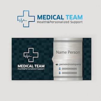 Tarjeta de visita de plata equipo médico
