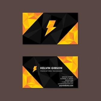 Tarjeta de visita poligonal en negro y amarillo con un rayo