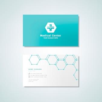 Tarjeta de visita profesional médica maqueta de diseño