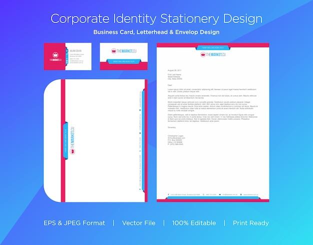 Tarjeta de visita profesional, membrete y plantilla de diseño envolvente