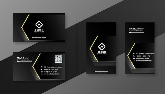 Tarjeta de visita profesional negra oscura con diseño de efecto dorado