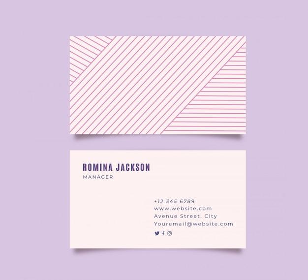 Tarjeta de visita púrpura lineal