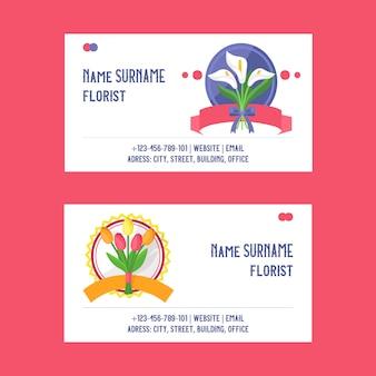 Tarjeta de visita de ramo hermoso telón de fondo floral con flores flores ilustración tulipán florido en boda cumpleaños vacaciones florecimiento conjunto de tarjeta de visita