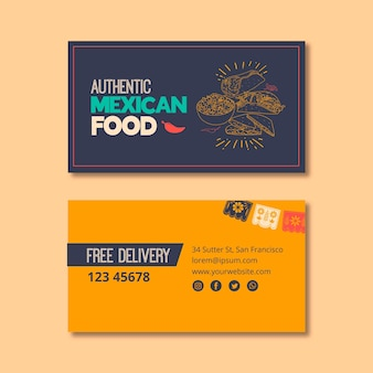 Tarjeta de visita para restaurante de comida mexicana