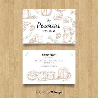 Tarjeta de visita de restaurante con elementos dibujados